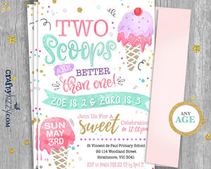 Joint Ice Cream Birthday Invitations - Twins First Birthday - Girl Ice Cream Second Birthday Invitation - Two Scoops Are Better Than One! - CraftyKizzy