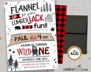 Joint Lumberjack Birthday Invitation - Boy Red Flannel Sibling Invitations - Wild One Three - Bear Invitation - Baffalo Plaid - CraftyKizzy