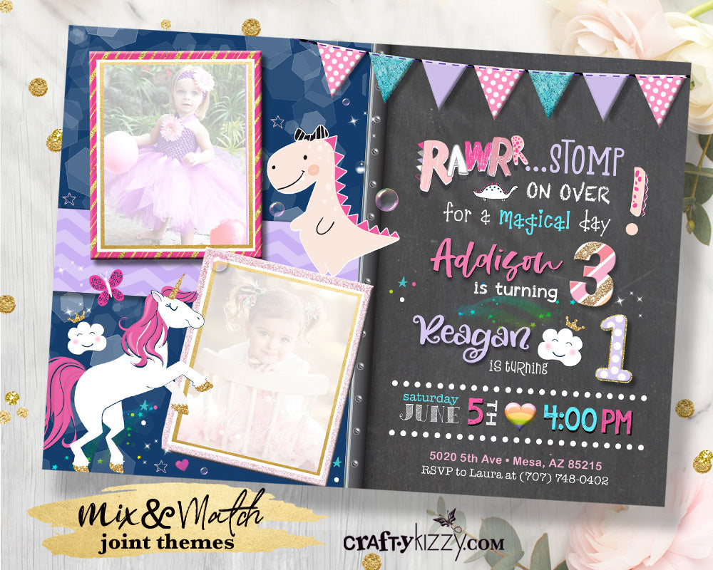 Girl Dinosaur and Unicorn Joint Birthday Invitation - Rawr Dinosaur First Birthday Joint Invitations - Magical Dino Party Invitation - CraftyKizzy