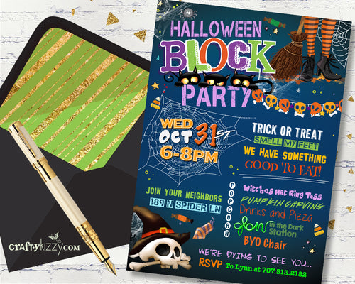 Children's Halloween Block Party Invitation - Halloween Neighborhood Party Invitations - Costume Party Flyer - Street Party Invite