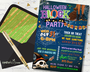 Children's Halloween Block Party Invitation - Halloween Neighborhood Party Invitations - Costume Party Flyer - Street Party Invite - CraftyKizzy