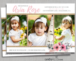 Floral Baptism Invitations - Girl Christening Invitation - First 1st Holly Communion - Naming Day - Dedication - LDS JW Baptism - CraftyKizzy