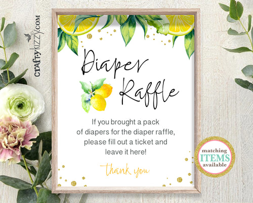 Gender Neutral Baby Shower Diaper Raffle Sign - Mommy To Be Game Sign Lemon - Citrus Diaper Game Printable Table Signs - INSTANT DOWNLOAD