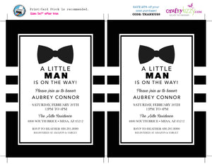 Little Man Baby Shower Invitation - Bow Tie Printable Invitations - It's A Boy - Black And White Baby Shower Invite