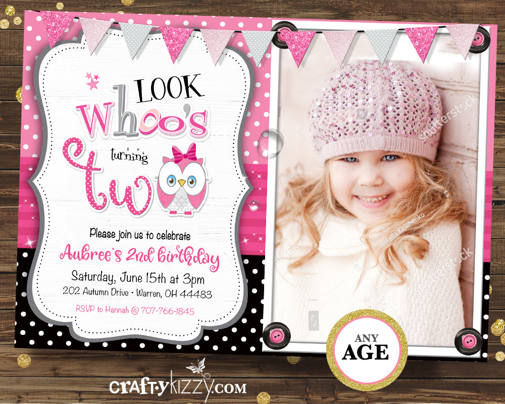 Look Who's First Birthday Owl Invitation - Girl Whoo Second Birthday Invitations - Printable Pink Owl - CraftyKizzy