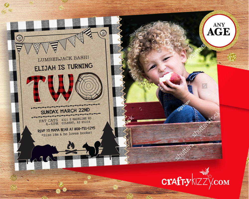 Lumberjack second birthday invitation