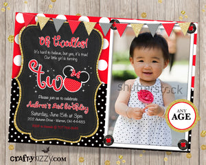 Oh Twodles Red Minnie Mouse Second Birthday Girl Invitation - Mouse Ears 2nd Birthday Invitation - CraftyKizzy