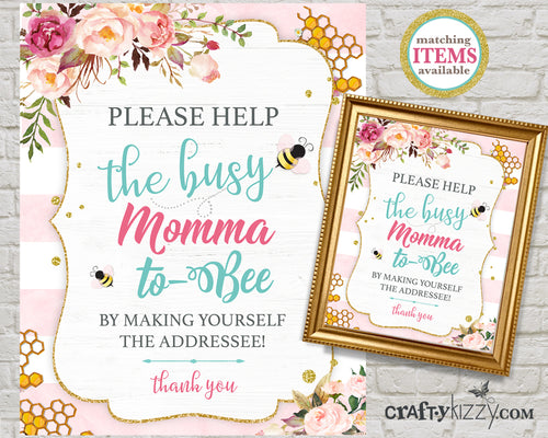 Mommy To Bee Baby Shower Address And Envelope Sign - Printable Baby Shower Table Sign - Addressee Sign - INSTANT DOWNLOAD - CraftyKizzy