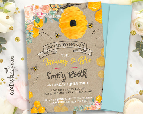 Rustic Bumble Bee Baby Shower Invitations - Mommy To Bee Baby Shower Invitation - Girl Honey Bee Party - Personalized - CraftyKizzy
