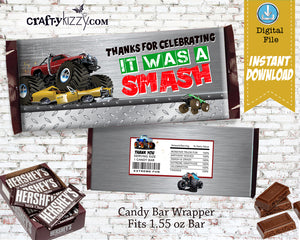 Boy Monster Truck Candy Bar Wrapper - Monster Truck Diamond Plate Thank You Birthday Party Favors - INSTANT DOWNLOAD