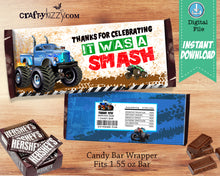 Red Monster Truck Chocolate Candy Bar Wrapper - Monster Truck Thank You Birthday Party Favors - INSTANT DOWNLOAD - CraftyKizzy