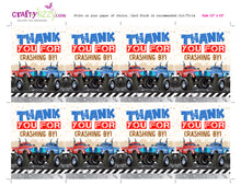Monster Truck Thank You Tags Twins - Monster Truck Birthday Party Favors Twins - INSTANT DOWNLOAD