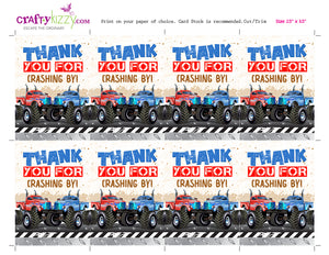 Monster Truck Thank You Tags Twins - Monster Truck Birthday Party Favors Twins - INSTANT DOWNLOAD - CraftyKizzy