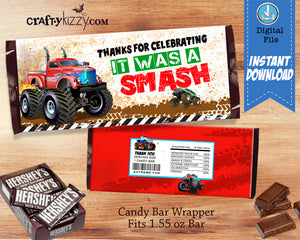 Red Monster Truck Chocolate Candy Bar Wrapper - Monster Truck Thank You Birthday Party Favors - INSTANT DOWNLOAD