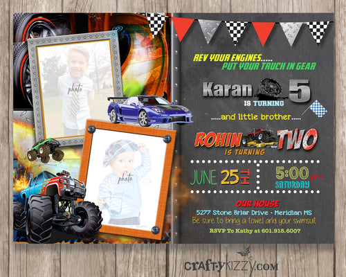 Monster Truck Joint Birthday Invitation - Race Car Boy Joint Birthday Invitation - Party Printable - Twin Boys