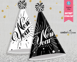 Kids New Year's Eve Party Hat Printables - Happy New Year Kid Party Hats - New Years Party Favors - Kids Party Hat - INSTANT DOWNLOAD