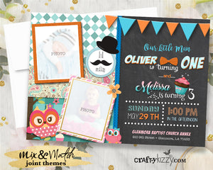 Little Man Joint Birthday Invitation - Look Who's Owl Party Invite Paisley - Our Little Man is Turning One Invitations Girl Boy - CraftyKizzy