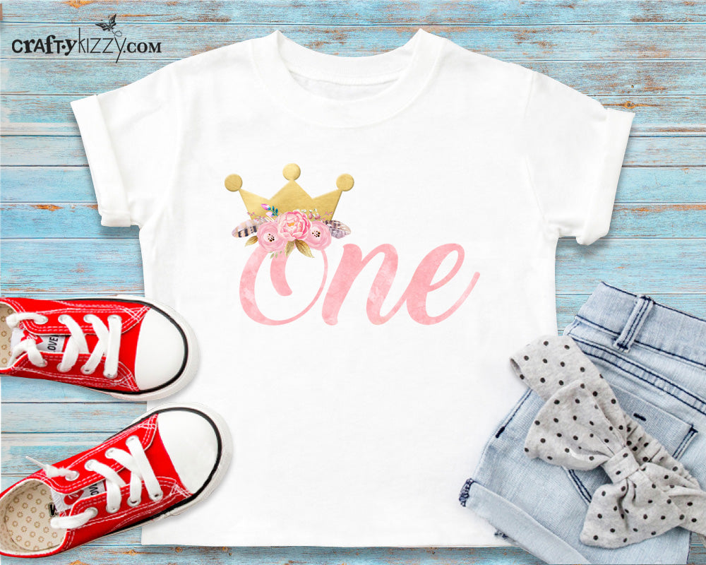 Princess One Birthday Tshirt - Our Little Princess Is Turning One T-shirt - First Birthday Outfit - Gold Birthday Crown Shirt - Toddler Girl Shirts