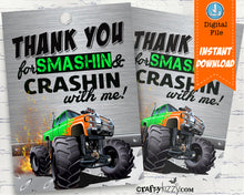 Monster Truck Thank You Tags - Orange and Green Monster Truck Party Favor Gift Tags - INSTANT DOWNLOAD - CraftyKizzy
