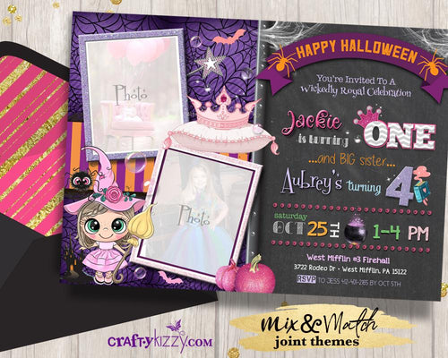 Princess Halloween Invitation Joint Girls