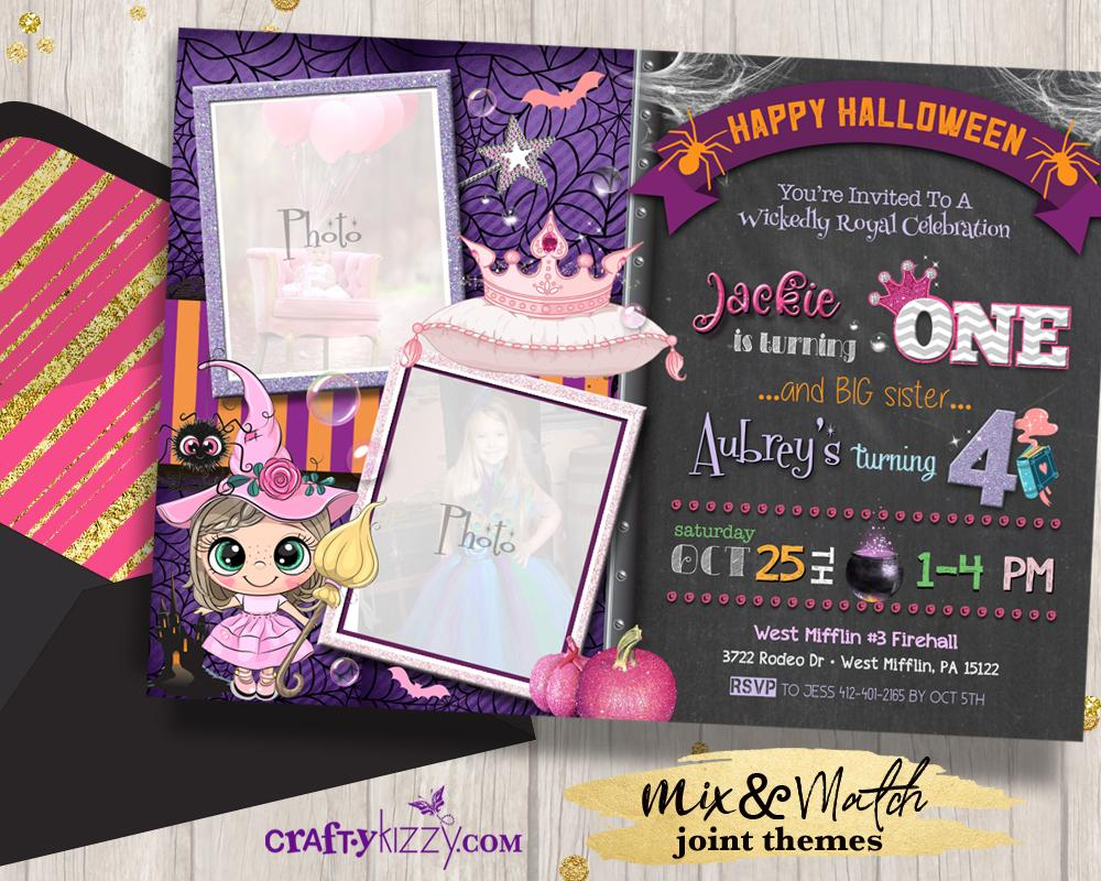 Joint Princess Tiara Halloween Invitation Pink Witch Birthday Invitations Girl Birthday Party Witches & Tiaras - CraftyKizzy