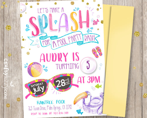 Pool Party Bash Birthday Invitations - Printable Let's Make A Splash Girl Invitation - 1st Birthday or Tween Invite - CraftyKizzy