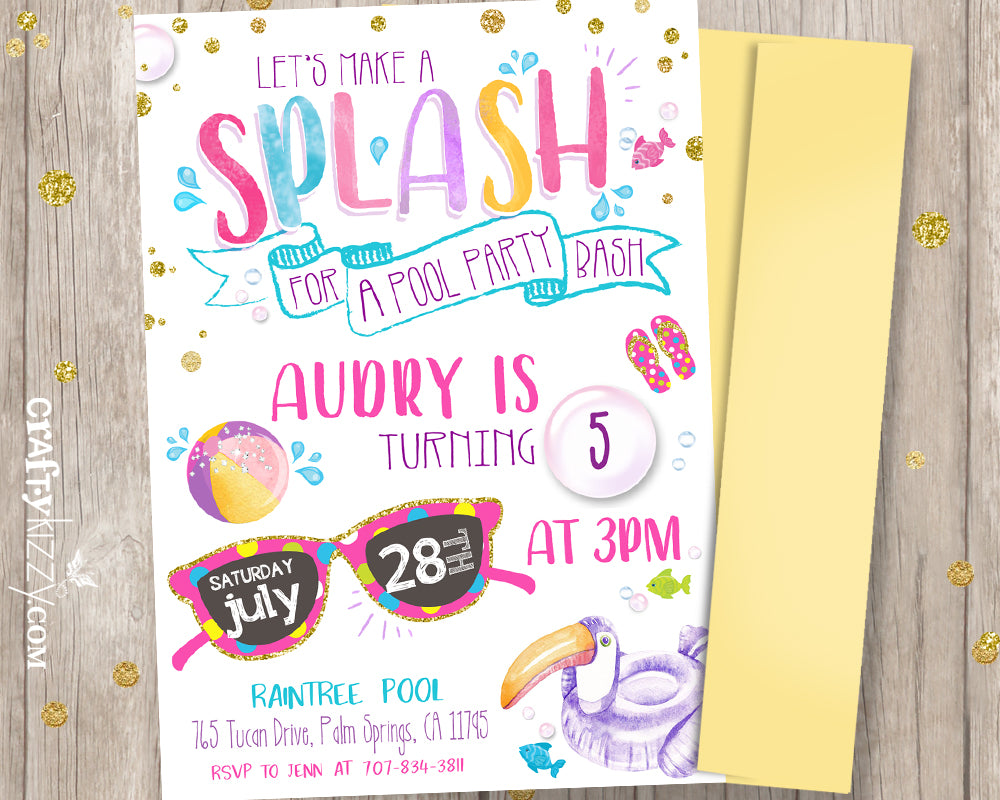 Tween Pool Party Bash Birthday Invitations