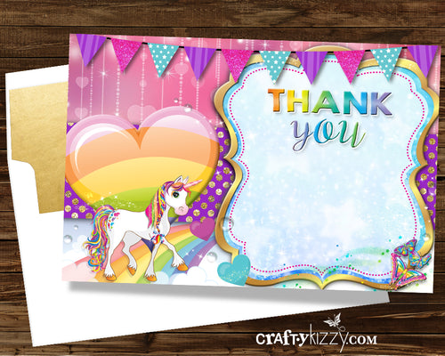Rainbow and Unicorn Printable THANK You Card - Unicorns - Girl's Birthday Thank You Cards - INSTANT DOWNLOAD