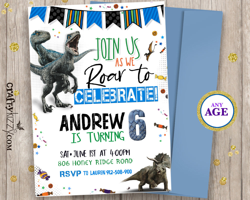 Raptor Dinosaur Birthday Invitations - Let's Roar Prehistoric Invitation - Triceratops Party - CraftyKizzy