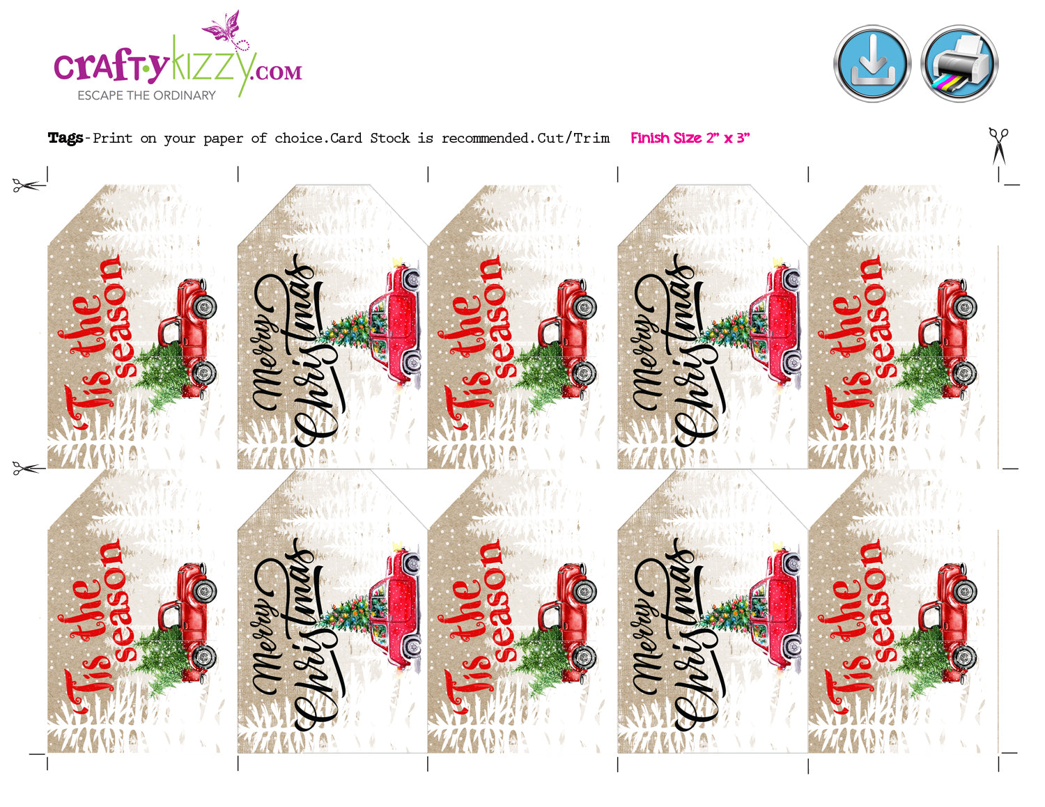 Red Truck Merry Christmas Favor Tags - Craft Tags - Vintage Red Car ...