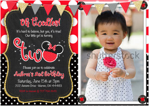 red poka dot oh twodles birthday invitations
