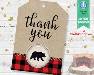 Twins First Birthday Wilderness Invitation - Triplets Lumberjack Invitations - Joint Wild One Bear Invitation - Buffalo Plaid - CraftyKizzy