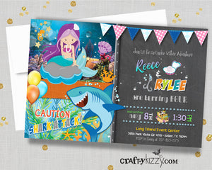 Joint Mermaid and Shark Birthday Party Invitations - Mermaid and Shark Invitation - Girl Boy Invite - Twins