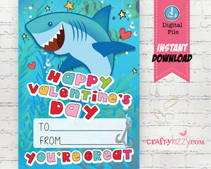 Shark Valentines Day Printable Cards School Classroom Valentine's for kids - DIY Valentine's INSTANT DOWNLOAD