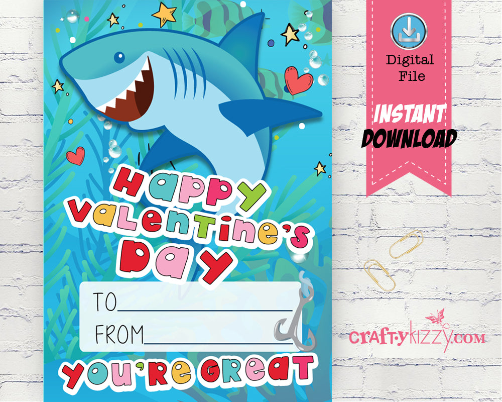 Shark Valentines Day Printable Cards School Classroom Valentine's for kids - DIY Valentine's INSTANT DOWNLOAD - CraftyKizzy