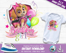 Skye Paw Patrol Birthday Girl Shirt - Paw Patrol  Iron On Outfit for Girls - Digital Transfer Decal - INSTANT DOWNLOAD - CraftyKizzy