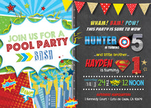 Superhero Pool Party Bash Birthday Invitations
