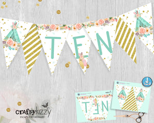 Boho Teepee Happy Birthday Pennant Banner - Tenth Birthday Printable Triangle Bunting Flag Banner - Party Flags P0006 - INSTANT DOWNLOAD - CraftyKizzy