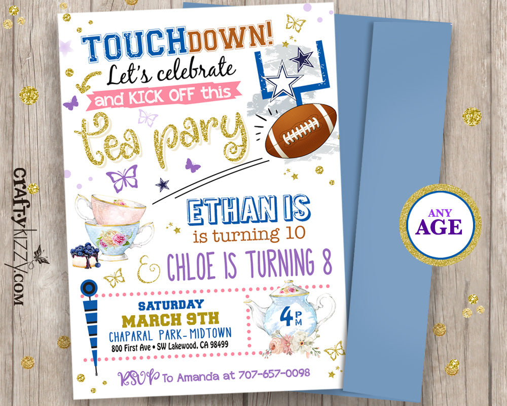 Joint Birthday Football Tea Party Invitation Touchdown Sibling Boy Girl Invitations - TwinsPrintable
