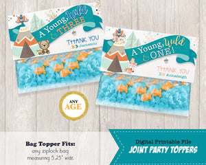 Joint Tribal Woodland Treat Bag Toppers - Printable Candy Loot Bag Party Favors - Birthday Thank You Topper Wild One Goodie Bags - Wild Three - Personalized