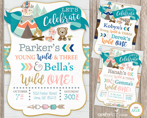 Tribal Wild One - Young Wild and Three Sibling Boy Girl Birthday Invitation Printable - Woodland Animals - Joint Party - CraftyKizzy