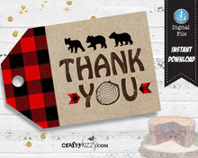 Bear Baby Shower Thank You Favor Tags - Red Flannel Birthday Favors - Lumberjack Favor Tag - INSTANT DOWNLOAD - CraftyKizzy