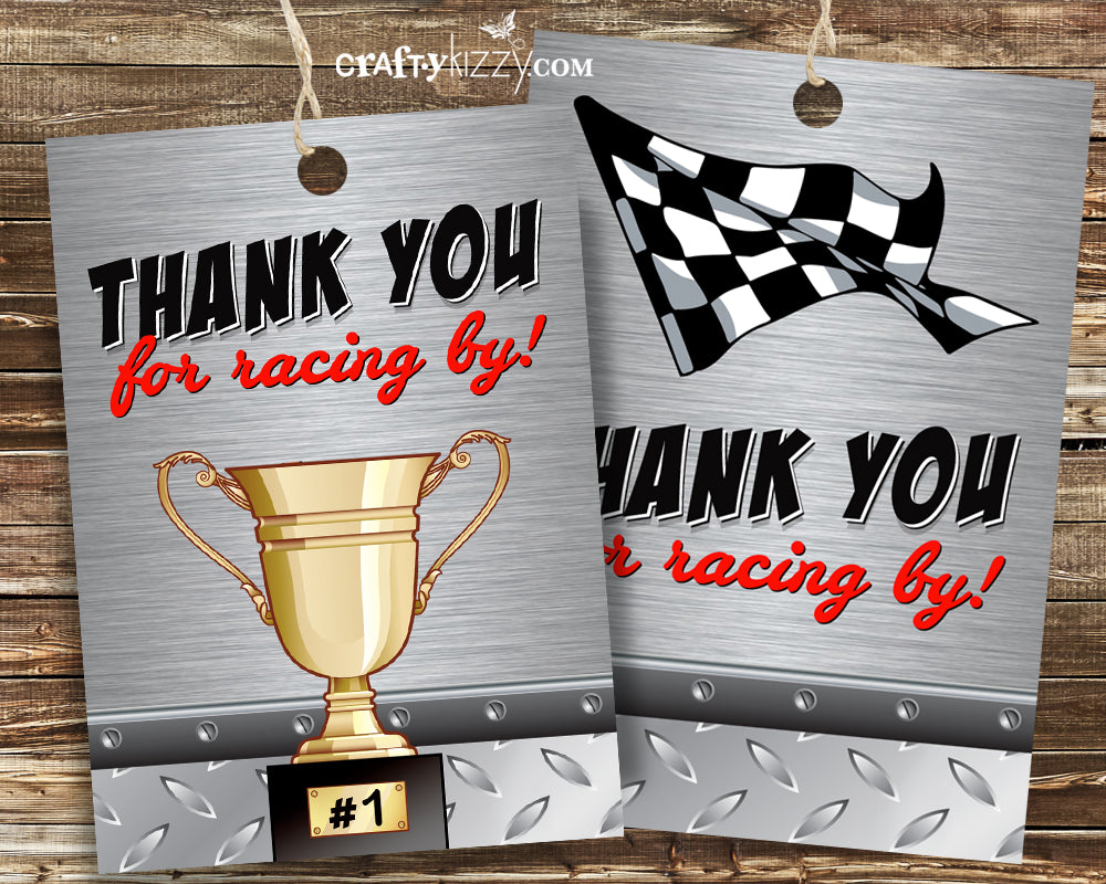 Trophy Party Favor Gift Tags - Racing Flag Tags - Race Car Thank You Favor Tags - INSTANT DOWNLOAD - CraftyKizzy
