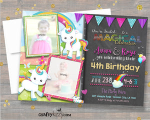 Girl Joint Unicorn Birthday Invitation - Twin Girls Unicorn & Rainbows Party Invitations - Cute Printable Twins Invites - CraftyKizzy