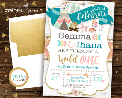Twin Woodland Birthday Invitation