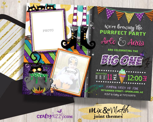 Twins First Birthday Halloween Party Invitations Twins Witches Brew Invitation Joint Birthday Party Printable - CraftyKizzy