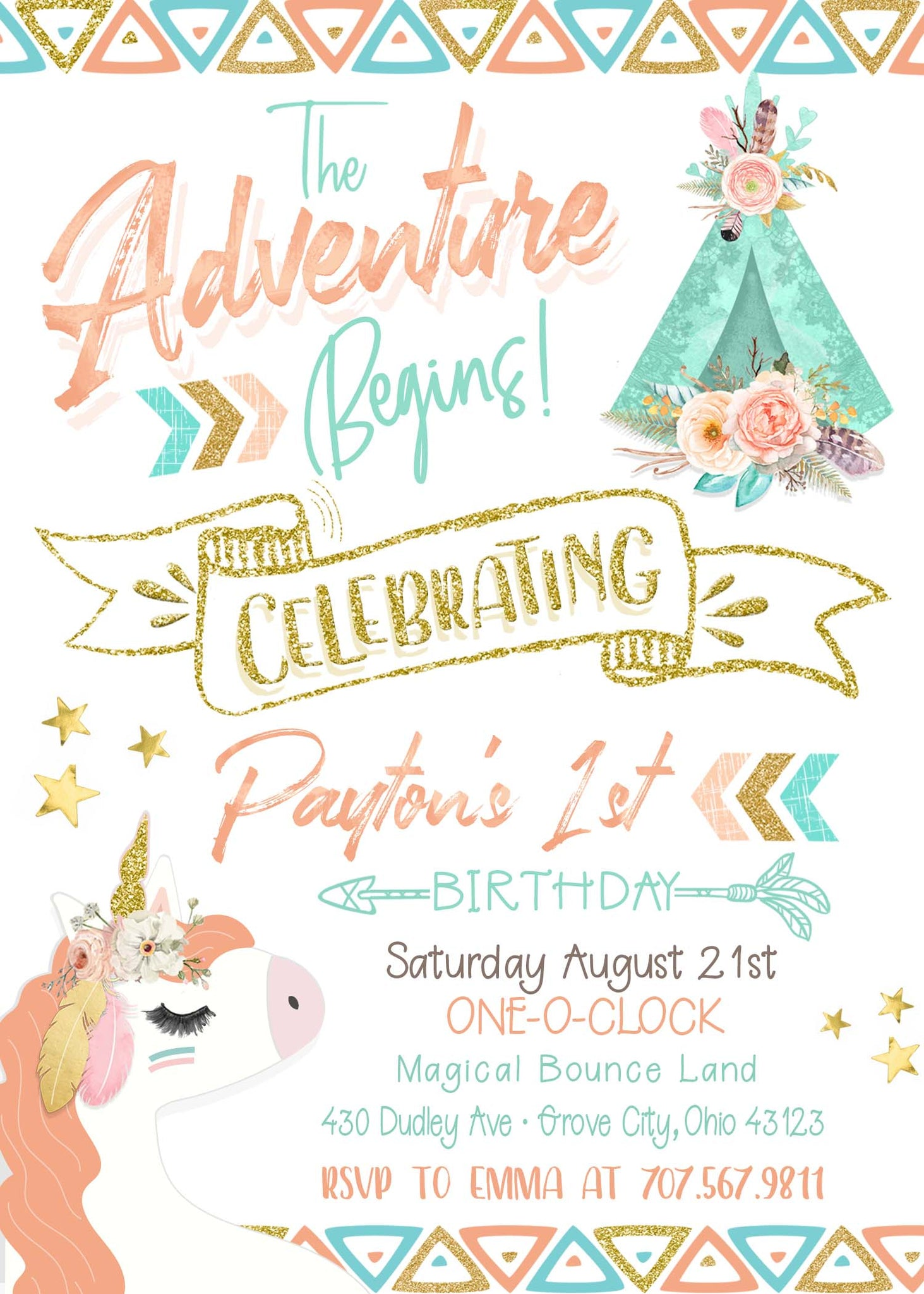 The Adventure Begins 1st Birthday Invitation Girl Unicorn