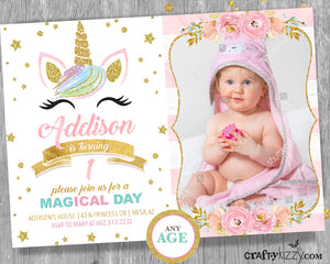 unicorn first birthday pink and gold invitations