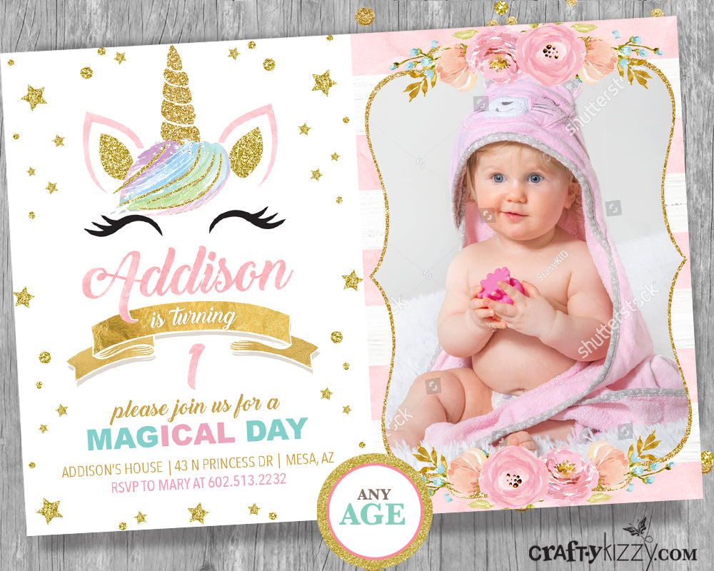 Unicorn First 1st Birthday Party Invitation Pink and Gold Unicorn Invitation - Watercolor Roses - CraftyKizzy