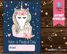 Unicorn Valentine's Day Cards for Children Instant Download